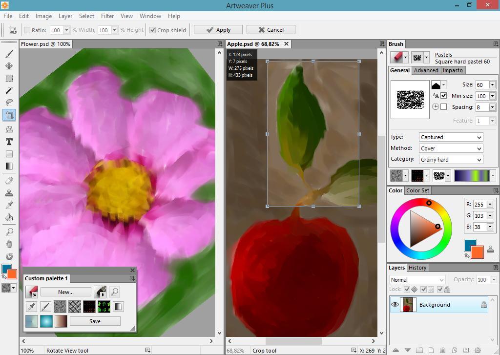 Ventana principal de la aplicación Artweaver en la que se muestran las cajas de herramientas, opciones de colores y capas sobre un ejemplo.